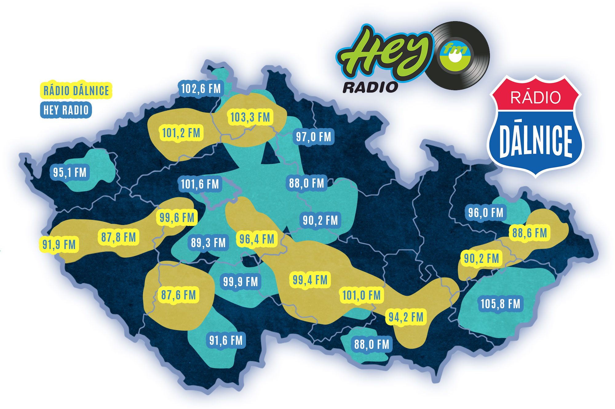 Rádio Dálnice, Hey Radio pokrytí